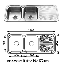 DOUBLE BOWL & DRAINER SUITABLE FOR TOP MOUNT